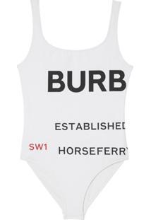 Burberry Maiô Com Estampa Horseferry - Branco
