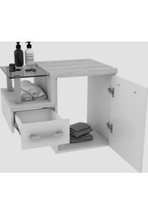 Conjunto Para Banheiro Gabinete Com Cuba De Apoio Folha L34 E Espelheira Legno 631W Branco/Nogal