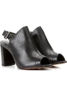 Sandália Couro Santa Lolla Sandal Boot Salto Grosso Feminina - Feminino-Preto