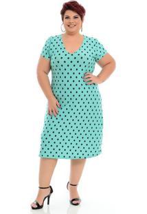 Vestido Basico De Malha Poá Verde Plus Size
