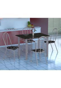 Conjunto De Mesa Genova Com 4 Cadeiras Alicante Branco Prata E Preto Floral