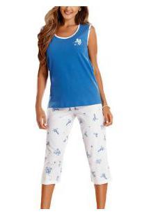 Pijama Capri Regata Floral Paulienne (8998-0) 100% Algodão