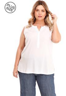 Regata Melinde Plus Size Botão Embutido Off White