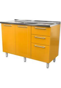 Balcão De Cozinha Play Com Pia 3 Pt 2 Gv Amarelo