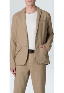 Blazer Casual Cotton Linen-Caqui - P