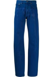 Y/Project Calça Jeans Reta Com Listras - Azul
