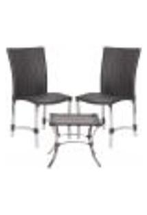 Jogo Cadeiras 2Un E Mesa De Centro Florida Para Edicula Jardim Area Varanda Descanso - Tabaco