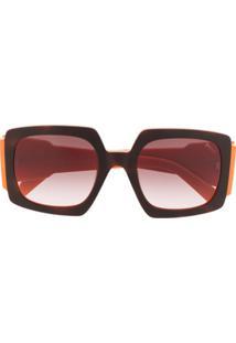 Emilio Pucci Óculos De Sol Quadrado Color Block - Laranja
