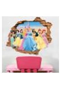 Adesivo De Parede Buraco Falso 3D Infantil Princesas - G 82X100Cm
