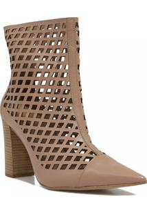 Bota Zariff Shoes Ankle Boot Vazado Zíper Nude