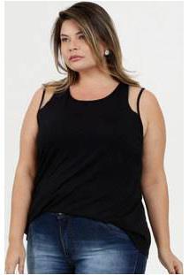Regata Feminina Recorte Tule Plus Size