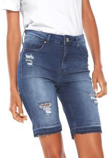Bermuda Jeans Lunender Ajustada Destroyed Azul