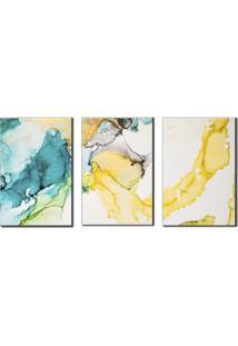 Quadros Decorativos Abstrato Marmorizado Azul E Amarelo - Amarelo - Dafiti