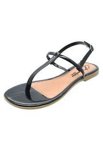 Sandália Romântica Calçados Tirinhas Preto