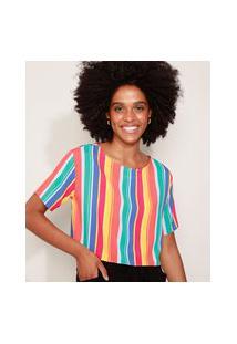 Camiseta Cropped Feminina Listrada Manga Curta Decote Redondo Multicor