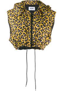 Msgm Colete Animal Print - Amarelo