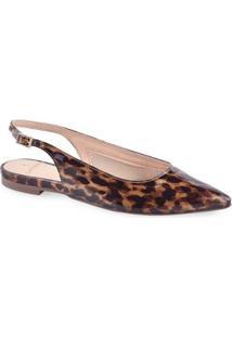 Slingback Leopardo Feminina - Feminino-Caramelo