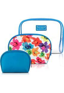 Kit De Necessaire Jacki Design De 3 Pçs Ahl17229-Az Azul Unico