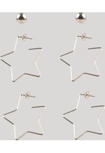 Kit De 3 Brincos Femininos Folheados Estrelas Dourado