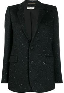 Saint Laurent Glitter Tailored Blazer - Preto