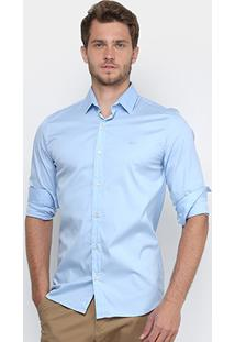 Camisa Lacoste Slim Fit Com Logo Masculina - Masculino-Azul Claro
