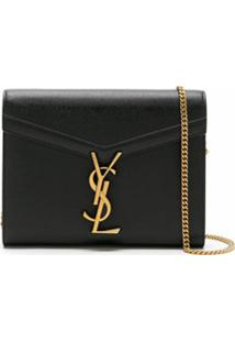 Saint Laurent Clutch Ysl De Couro - Preto