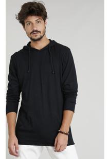 Camiseta Masculina Flamê Com Capuz E Bolso Manga Longa Preta