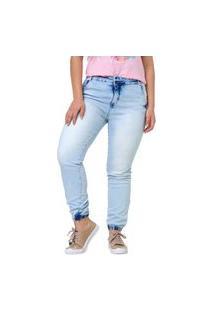 Calça Jeans Feminino Jogger Cintura Média