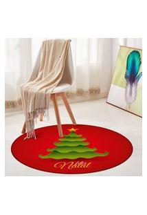 Tapete De Natal Redondo Feliz Natal Com Pinheiro 84Cm