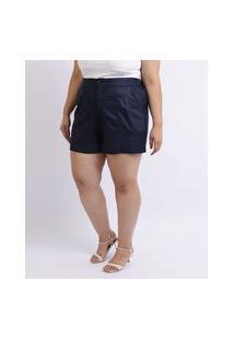 Short Feminino Mindset Plus Size Cintura Alta Com Bolsos Azul Marinho