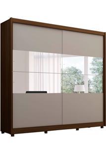 Guarda-Roupa Casal Com Espelho Orfeu 2 Pt 5 Gv Off White E Nogueira
