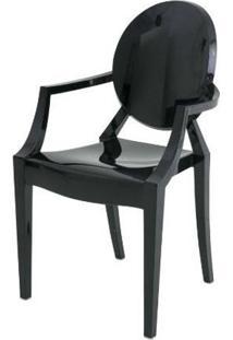 Cadeira Louis Ghost Com Braco Preto 93Cm - 62960 - Sun House