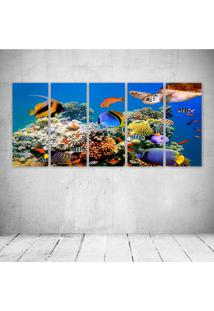 Quadro Decorativo - Underwater World Fish Turtles Corals - Composto De 5 Quadros