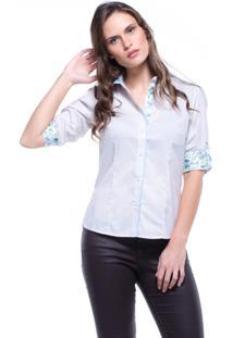Camisa Lovestone 7/8 Algodão Listrado Floral Bege