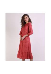 Vestido Feminino Midi Estampado De Poá Manga Bufante Vermelho