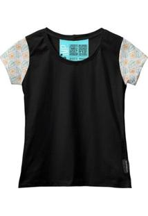 Camiseta Baby Look Feminina Algodão Estampa Flor Estilo Moda - Feminino-Preto