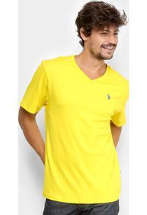 Camiseta U.S. Polo Assn Gola V Masculina - Masculino-Amarelo