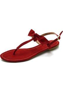 Sandália Rasteira Fandarello Vermelha - Kanui