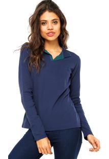 Camisa Polo Manga Longa Malwee Logo Azul