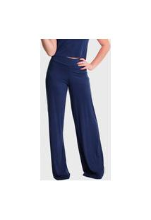 Calça Pantalona Cintura Alta Lynnce Azul Marinho