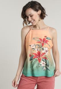 Regata Feminina Com Estampa Floral Degradê Decote Reto Alças Finas Coral