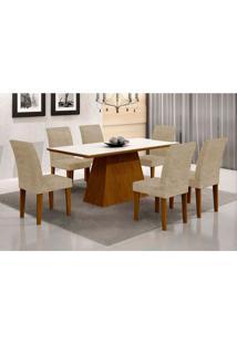 Conjunto De Mesa De Jantar Luna I Com Vidro E 6 Cadeiras Grécia Suede Amassado Imbuia E Chocolate
