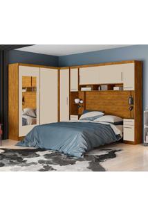 Dormitório De Casal Elizabeth Robel C/ Espelhos Nature Off White Robel Móveis - Tricae