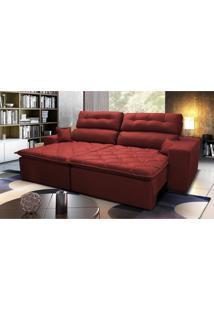 Sofá 2,12M Retrátil E Reclinável Com Molas Cama Inbox Confort Tecido Suede Velusoft Vermelho