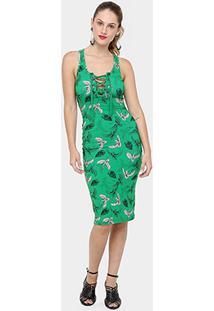 c404f6cbed ... Vestido Colcci Midi Canelado Estampado Amarração - Feminino-Verde
