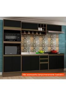 Cozinha Compacta Safira 9 Pt 3 Gv Preta E Avelã