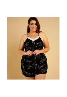 Pijama Plus Size Feminino Estampado Recorte Alças Finas