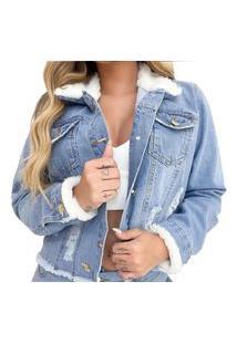 Jaqueta Jeans Feminina Pelinho Pelo Desfiada Clara Azul