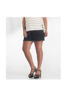 Short Plus Size Jeans Feminino Secret Glam Preto