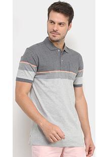 Camisa Polo Gajang Bicolor Listra Masculina - Masculino-Laranja